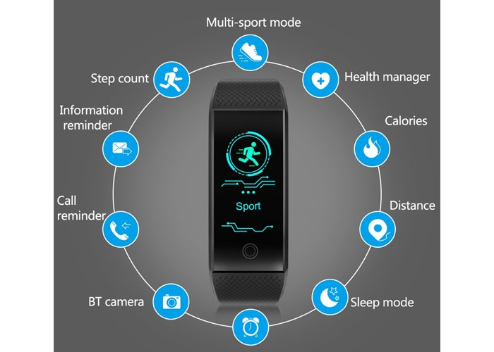 Bluetooth Έξυπνο Ρολόι Smart Bracelet Unleash Your Run QW-18 ... fa2ebcfbc4d